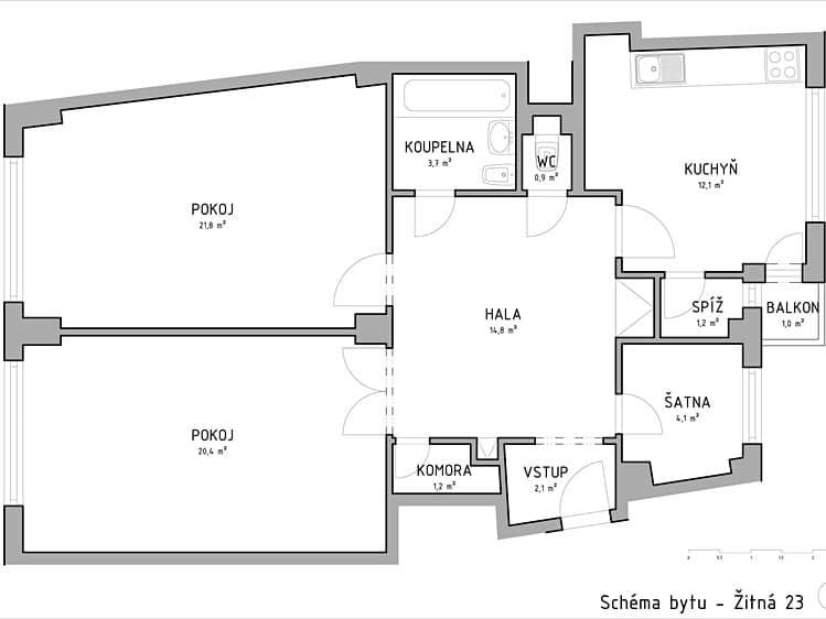 למכירה דירת 3+kk בגודל 82 מר בעיר העתיקה של פראג (2)