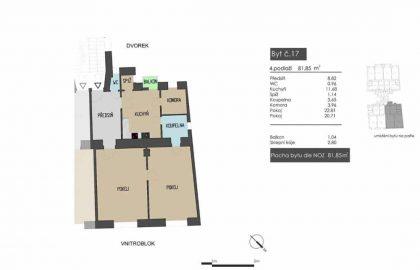 """למכירה בברנו דירת 2+1 בגודל 82 מ""""ר"""